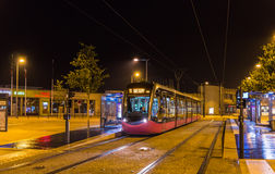 Modern tram on central station of Dijon - France Royalty Free Stock Photo