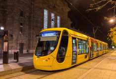 Modern tram on central station of Mulhouse - France Royalty Free Stock Photo