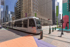 Modern Tram in the city of Houston, Texas. HOUSTON, USA - APR 14: Modern tram or trolley car in Houston downtown district. April 14, 2016 in Houston, Texas Royalty Free Stock Photos