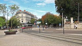 Modern tram in Dijon, France. Dijon, France - August 27 2014: Modern tram on the square Place Darcy stock video