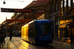 Tram in Ilica Street Driving Into Sunset Royalty Free Stock Image