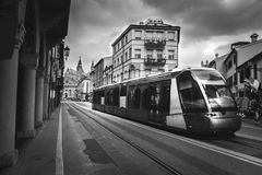 Modern tram europe padua black and white Stock Image