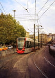Modern tram ,grunge. Modern tram ib city,grunge style Royalty Free Stock Photo