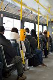 People inside modern tram interior Stock Photo