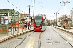 Modern tram in Istanbul, Turkey royalty free stock photos