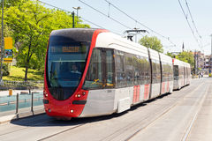 A modern tram in Istanbul, Turkey Royalty Free Stock Images