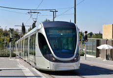 Modern tram in Jerusalem, Israel Royalty Free Stock Photos