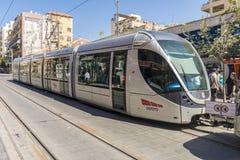 Modern tram on the main street of Jerusalem Stock Images