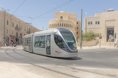 Modern tram on the main street of Jerusalem Stock Photo