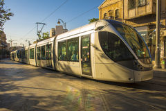 Modern tram on the main street of Jerusalem Royalty Free Stock Photo
