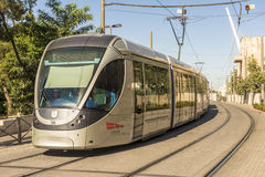 Modern tram on the main street of Jerusalem Royalty Free Stock Image