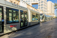 Modern tram on the main street of Jerusalem Stock Image