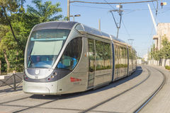 Modern tram on the main street of Jerusalem Stock Photography
