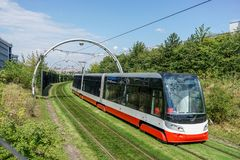 Modern tram. In front of a stop in Prague Stock Photography