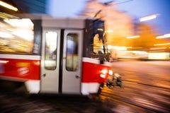 Modern tram in motion blur, Prague city, Europe Stock Photos