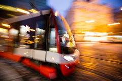 Modern tram in motion blur, Prague city, Europe Stock Photo
