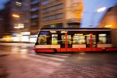 Modern tram in motion blur, Prague city, Europe Royalty Free Stock Photos