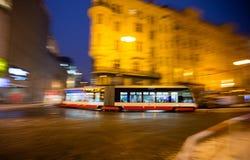 Modern tram in motion blur, Prague city, Europe Stock Images