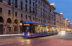 Modern tram in Munich city center - Germany, Bavaria Stock Photography
