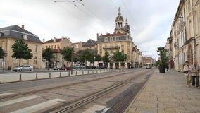 Modern tram in Nancy, France stock footage
