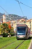 Modern tram in Nice, France stock photo