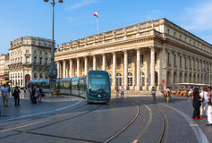 Modern tram on the Place de la Comédie in Bordeaux Royalty Free Stock Photo