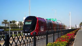 Modern tram. Public transport in Dubai. UAE. Modern tram. Public transport in Dubai. UAE stock footage