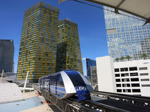 Modern tram pulls into station at CityCenter connects the Belagg Stock Images