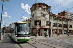 Modern tram Skoda 26T LRV  in Miskolc Stock Photography