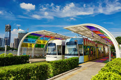 Modern tram station platform. Modern tram at platform in station. Asian Chinese modern city view, cityscape, urban scenery in Guangzhou City, Guangdong (Canton) stock image