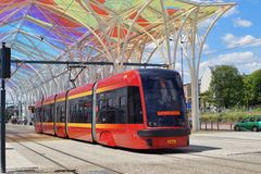 The modern tram station - Stop Center. Lodz Royalty Free Stock Photos