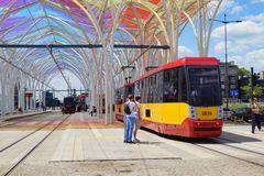 The modern tram station - Stop Center. Lodz Royalty Free Stock Images