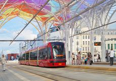 The modern tram station - Stop Center. Lodz Stock Images