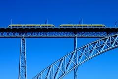 Modern tram on a steel bridge Royalty Free Stock Photos