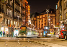 Modern tram on in Strasbourg Stock Photos