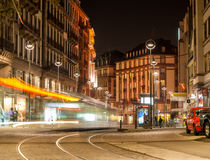Modern tram on at Strasbourg city center Royalty Free Stock Photo