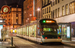 Modern tram on at Strasbourg city center. France, Alsace Royalty Free Stock Photography