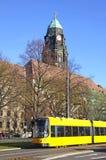 Modern tram on the street of Dresden Stock Images