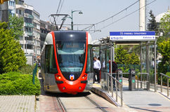 Modern tram on the street of Istanbul Royalty Free Stock Photography