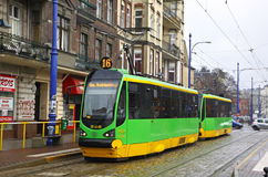 Modern tram on a street of Poznan Royalty Free Stock Photo