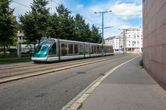 Modern tram on the street in Strasbourg Royalty Free Stock Image