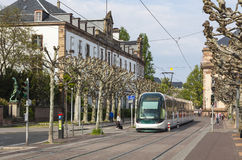 Modern tram on a street of Strasbourg, France Royalty Free Stock Image