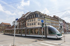 Modern tram on a street of Strasbourg, France Stock Photography