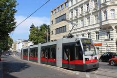 Modern tram in street in Vienna, Austria Royalty Free Stock Photo
