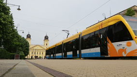 Modern tram on the streets of Debrecen, Hungary. Modern tram on the streets of Debrecen city, Hungary stock video