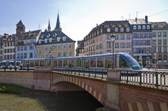 Modern tram on the streets of Strasbourg, France Royalty Free Stock Photos