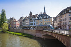 Modern tram on the streets of Strasbourg, France Stock Images