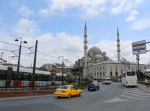 Modern Tram,Taxi,cars and Bus at Eminonu Traffic in Istanbul,Turkey Royalty Free Stock Images