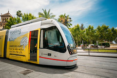 Modern tram Tussam on the line in Seville, Spain Royalty Free Stock Photos