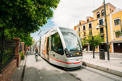 Modern tram Tussam on the line in Seville, Spain Royalty Free Stock Image